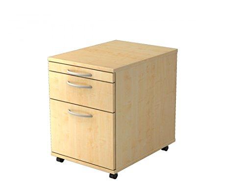 Rollcontainer mit Hängeregisterauszug DR-Büro V1605 in 4 Farben - 1 Schublade und 1 Materialschub, Farbe Büromöbel:Ahorn - Ahorn Roll