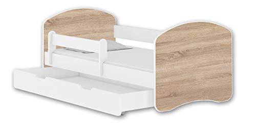 Jugendbett Kinderbett mit einer Schublade mit Rausfallschutz und Matratze Weiß ACMA II 140 160 180 (180x80 cm + Schublade, Weiß - Eiche Sonoma) -
