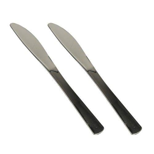 50 Messer, PS Plastik metallisiert 20 cm silber Einwegbesteck Einwegmesser Kuchenmesser