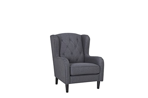 BECO Ohrensessel Grau Wohnzimmer Sessel Relaxsessel Polstersessel Fernsehsessel