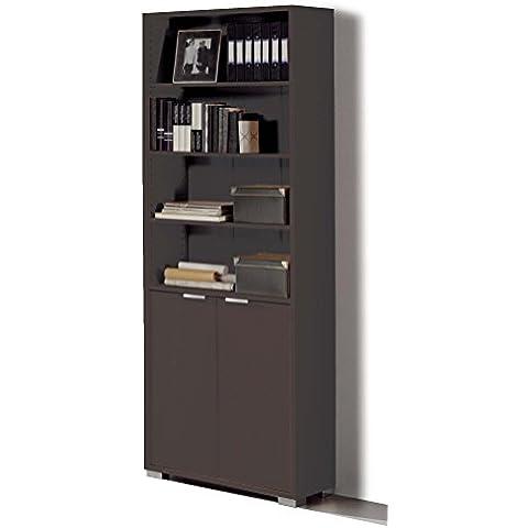 Estantería librería biblioteca de pie alta color wengué, estantes regulables, gruesos de 22MM, para oficina, despacho o estudio. 199cm altura x 75cm ancho x 33cm fondo