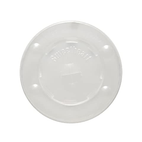SOLO L10BLN-0100 Polystyrene Flat Lid for Cold Cup, Straw Slots, Identification Buttons, Translucent (Case of