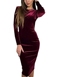 Primavera Otoño Mujeres Terciopelo Midi Vestido Elegante Moda Cuello Redondo Manga Larga Backless Vestido de Partido