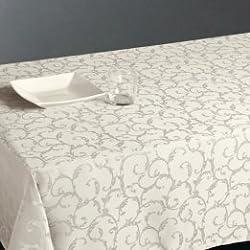 Nappe rectangulaire Jacquard Blanc - Anti-tâche