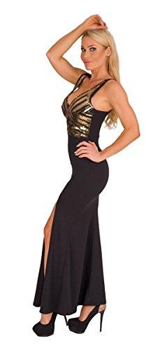 4928 Fashion4Young Langes Damen Kleid Maxikleid Abendkleid Party Pailletten Kleid Bodycon (schwarz-gold, 34-36) - 2