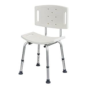 1PLUS Health Duschsitz – 5-stufig höhenverstellbarer Duschhocker mit Rückenlehne bis 110 kg belastbar