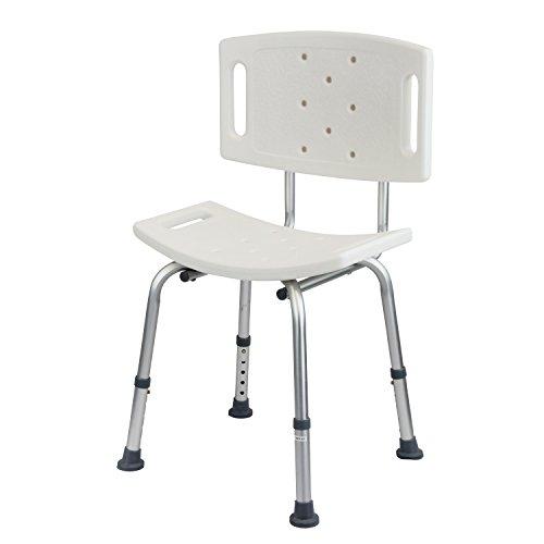 1PLUS Health Duschsitz Duschhocker mit Rückenlehne bis 110 kg belastbar