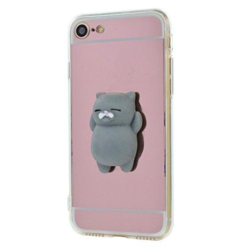 Cover xiaomi mi5, cute animale 3d squishy caso morbido silicone tpu case dito pinch stress relieve specchio back custodia per xiaomi mi 5 (gatto grigio, oro rosa)