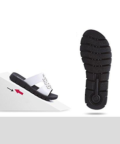 CHAOXIANG Pantofole Da Donna Antiscivolo Ciabatte Piatte Sandali Da Surf Nuova Estate Ciabatte Spiaggia ( Colore : Nero , dimensioni : EU40/UK6.5/CN41 ) Bianca