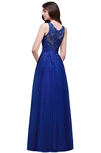 Robe pour Femme de Soirée Elégante pour Mariage Longue Maxi en Mousseline Florale Ajourée Col Rond avec Dentelle par MisShow Bleu Roi