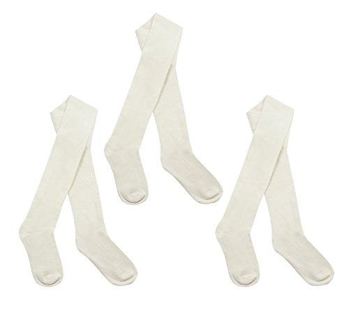 3Paar Kinder Mädchen Schule Strumpfhosen Muster Uni Design Gestrickt Baumwolle Rich Gr. 3-4 Jahre, Weiß - Cremefarben