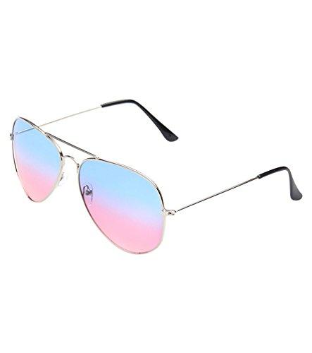 MissFox Gafas de Sol Moda Vintage para Mujer y Hombre Lente Talla única UV400 Piloto Sunglasses Azul rojo