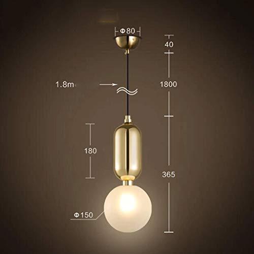 Einfache, Moderne Esszimmer Esszimmer Lampe Tabelle die Schlafzimmer Glasabdeckung Bed Single Head Kronleuchter 7-W-LED-Leuchtmittel G 9 Perlen (Farbe: Gold, Größe: warmes Licht) -