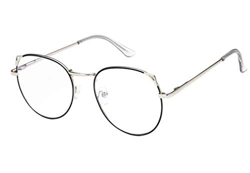 Unisex Silber Und Schwarz Retro Sixties Style Runde Metall Brillen Katzenohr Damen Herren Klare Linse