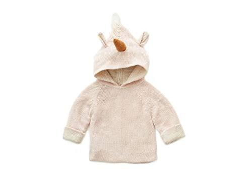 Oeuf Baby Clothes Animal Hoodie-lt. pink unicorn-18M