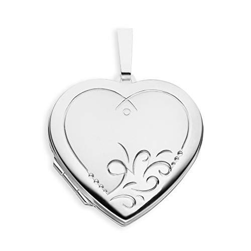 Medaillon Herz Teil-mattiert verziert 925 Sterling Silber zum öffnen für Bildereinlage 2 Fotos Amulett Verzierung von Haus der Herzen® mit Schmuck-Etui -