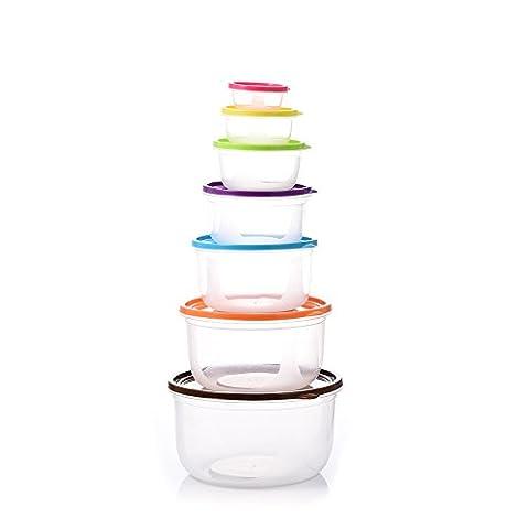 Ensemble de 7 récipients de stockage de nourriture Contenants de nourriture en plastique Préparation de repas Bento Box Lunch Box Rainbow Round Crisper