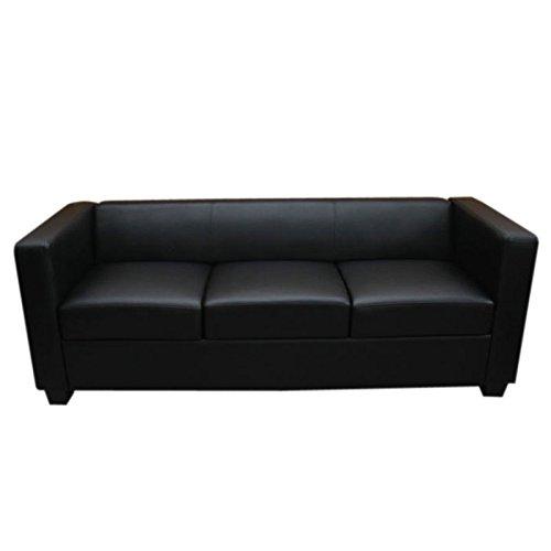 Schwarze Leder-couch (3er Sofa Couch Loungesofa Lille ~ Leder, schwarz)