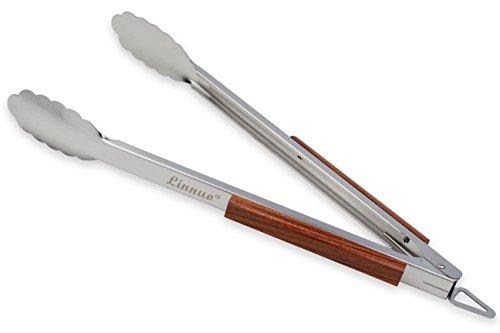 Linnuo Grillzange Edelstahl Holz Griff 45cm, XXL Grillzange Küchenzange Zange aus hochwertigem Edelstahl und echtem Holz, ideal für Grillen Kochen Servieren, 45 x 5 x 5cm (45)