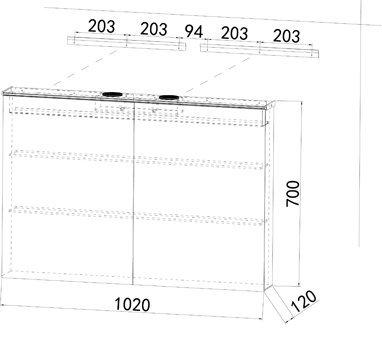 Alu Badezimmer spiegelschrank LED und Bluetooth Lautsprecher (102x70) -