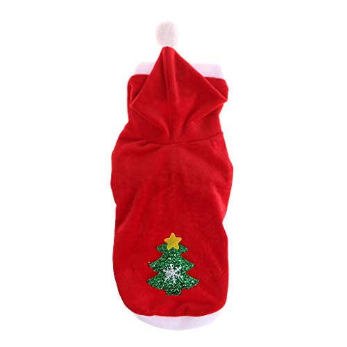 Biniwa Weihnachts-Kostüm, Weihnachtsbaum, roter Hut, Kleidung, Neujahr, für Hunde und Katzen, Größe ()
