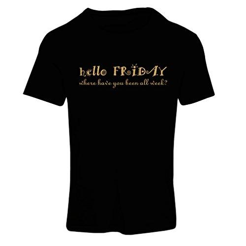 Frauen T-Shirt Ich Liebe Freitags Unisex T-Shirt (X-Large Schwarz Gold)
