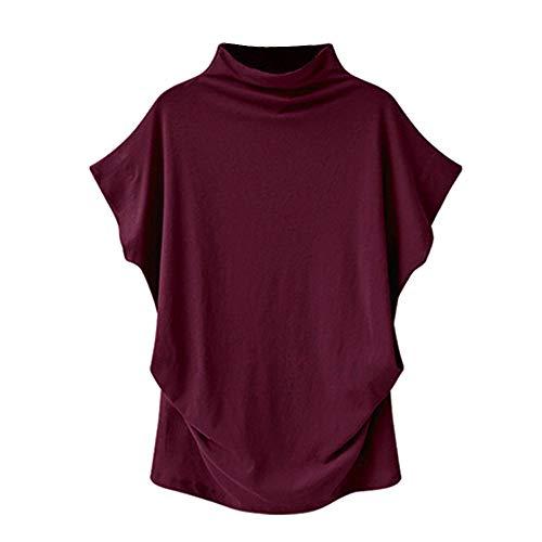Damen Fledermaus Shirt mit Rollkragen, Rovinci Frauen Sommer Kurzarm T-Shirt Einfarbig Große Größe Asymmetrisch Tunika Stretch Falten Oberteile Casual Loose Bluse Tops Pulli Hemd Blusenshirt Longshirt