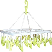 River Plast Cloth Drying Hanger with 32 Plastic Clips (Set of 1) (Random Color Will be Sent as per Availability)