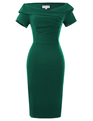 Forfait dames de la hanche élégante robe rétro Vintage Encolure V-cou noir vert taille 46 BP158-4