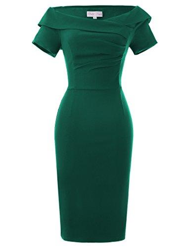 Belle Poque Vintage Robe Moulante sans Bretelles à Manches Courtes Robe Vert Foncé Taille 42 BP158-4