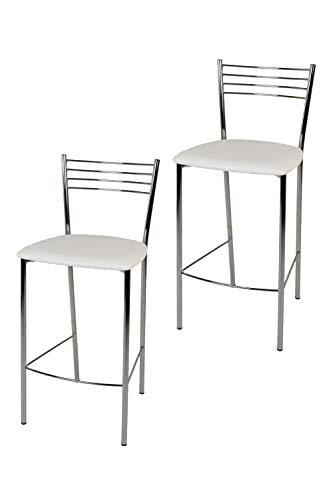 Set de 2 Taburetes de cocina y bar, con estructura en acero cromado y asiento en polipiel color blanco. Set Elena by Tommychairs