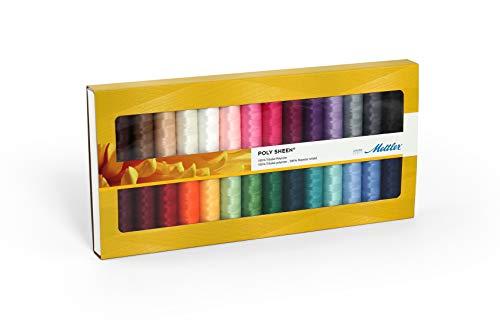 Mettler Poly Sheen Kit de fil à coudre 28 pièces – Fil universel pour couture et broderie 100% polyester de qualité supérieure – 200 m par rouleau