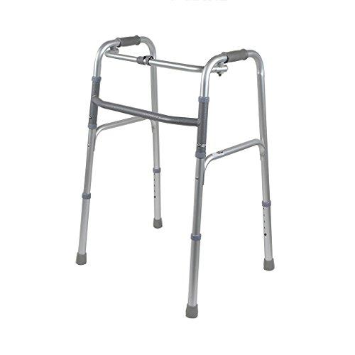 Nasc stampella deambulatore bastone ausiliario a piedi pieghevole antiscivolo multifunzionale in lega adatto per anziani/disabili/donne incinte (dimensioni: 58 cm * 92,2 cm * 52 cm)