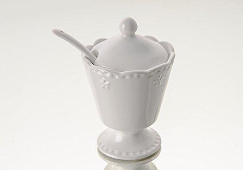 Amadeus Blanc Pot à Sucre en céramique Bol Couvercle cuillère