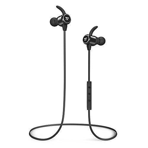 Bluetooth Kopfhörer 4.2 TaoTronics Magnetische Kabellose In Ear Kopfhörer, Enger Sitz für Sport mit MEMS Mikro und Keramik-Antenne (Schwarz) (Tao Bluetooth)