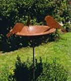 Außendekoration Sommer - Rost Gartenstecker: Vogelbad mit 3 Vögeln - Durchmesser 40cm - Metalldeko