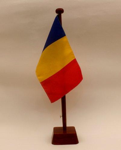 Rumänien 15x25 cm Tischflagge (M) mit 42 cm Naturholz - Tischflaggenständer, edle Ausführung