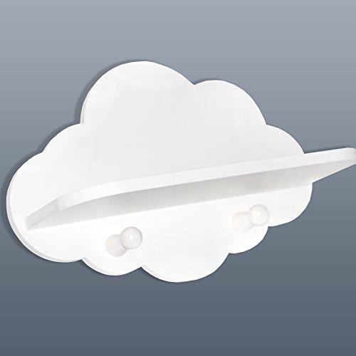 Luvel - Kindergarderobe mit 2 Haken, Kinderregal - Maße Wolke : 30 x 20 x 1 cm/Regalfläche 28 x 11 x 1 cm-weiß