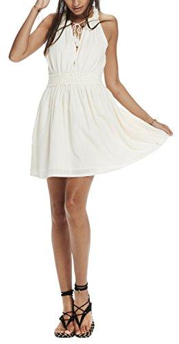 Scotch & Soda Maison Sleeveless Cotton Summer Dress with Raw Edge Neck Detail, Abbigliamento Casual Donna Elfenbein (Off White 01)