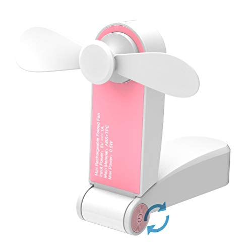 Jhua Ventilador Personal de Mano Mini USB Ventilador de Escritorio Portátil Ventiladores de Viaje Recargable Ventiladores de Bolsillo para Hogar Viaje Small hanheld Fan ( Rosa)