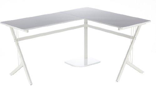 hjh OFFICE 673470 Eckschreibtisch POLLUX hochglanz weiß, ideal für Home Office und Büro, robuste langlebige Arbeitsfläche, ein breiter Computertisch, Schreibtisch, Büroschreibtisch, Winkelschreibtisch