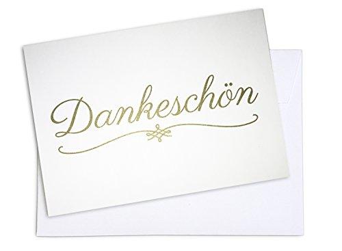 15 x Dankeskarten (DANKESCHÖN GOLD) und 15 x Umschläge im Set - Danke mit Danksagungskarten, Danke sagen nach Hochzeit, Geburt, Baby, Taufe, Konfirmation, Geburtstag
