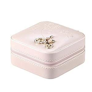 OMGO Boîte à Bijoux de Voyage en Cuir PU Organisateur Coffrets pour Bijoux à la Beauté Elégante Boîte de Rangement Maquillage Taille Compacte Grande Contenance avec Miroir Accessoires Bon Cadeau pour Femme/Fille Rose