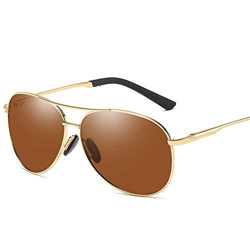 Vintage Trend Aviator Sonnenbrille, Polarisierte Linse mit Etui, 100% UV Schutz Brille (Farbe : Gold/Brown)
