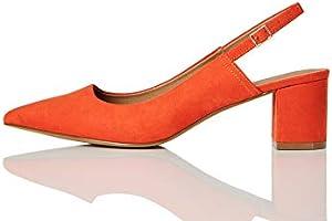 Marca Amazon - find. Block Heel Slingback - Zapatos de Talón Abierto Mujer