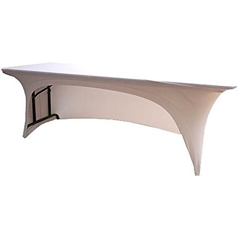 Funda blanco Spandex elástico mantel para 182,88cm pie mesa 1lado en forma de arco. DJ Buffet