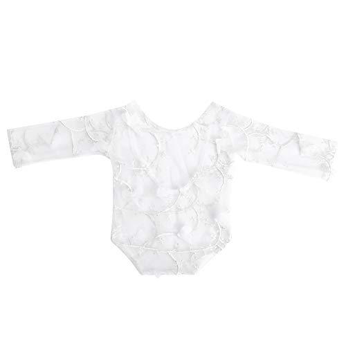 Baby Anzug Spitze Kleidung Blütenblatt Fotografie Requisiten Props Fotoshooting Zubehör für Neugeboren(Weiß)