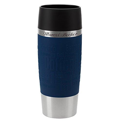 Emsa Thermobecher Travel Mug Blau 360 ml mit persönlicher Rund-Gravur gelasert Edelstahl Soft-Touch-Manschette Quick Express Verschluss