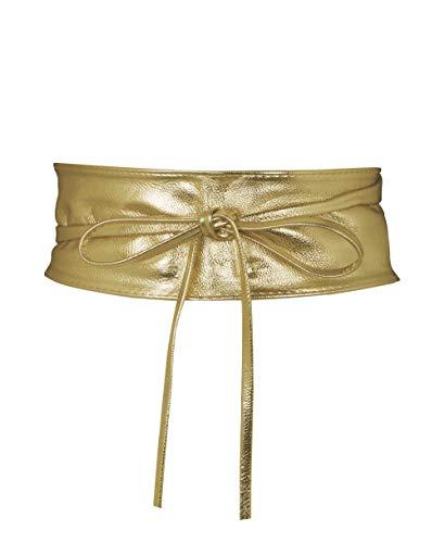 KRISP 14987-GLD-OS, Cinturón Mujer Ancho Corsé Atado Cordón, Dorado (14987), talla única
