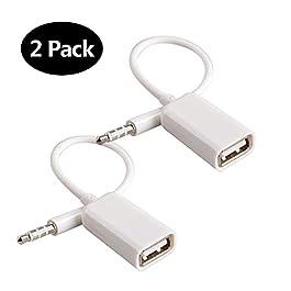 Adattatore da AUX a USB Adattatore jack audio da 3,5 mm maschio per jack audio a USB 2.0 Cavo convertitore convertitore…